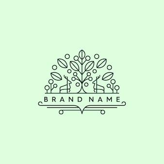 Veado monoline em um logotipo da floresta