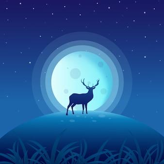 Veado na noite com lua cheia