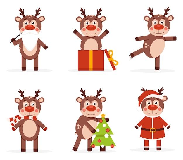 Veado no desenho animado do feriado do animal de natal