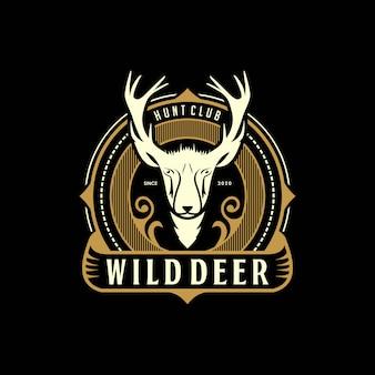 Veado selvagem caça vintage elegante logotipo design premium template