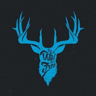 Veado ser selvagem e livre azul invertido