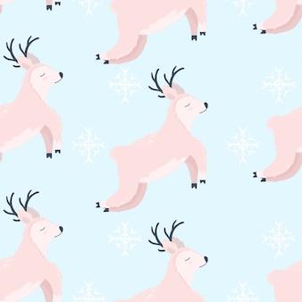 Veado vestindo cachecol inverno ilustração padrão