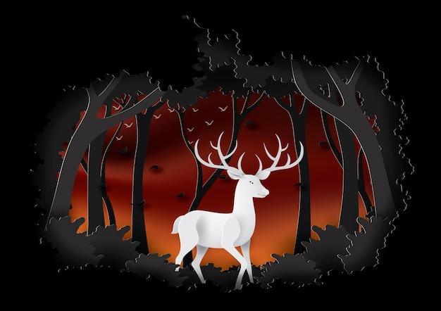 Veados na floresta da noite