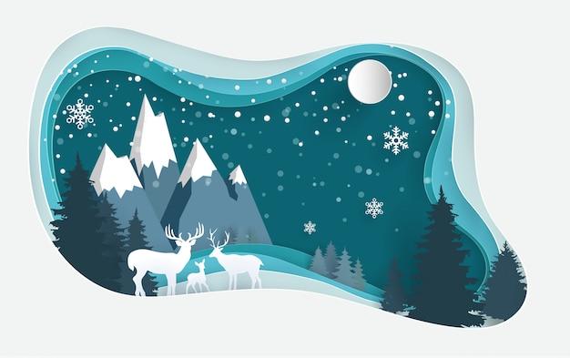 Veados na floresta de inverno com desenhos de arte de papel.