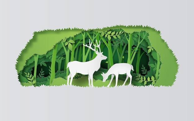 Veados na floresta. estilo de arte em papel.
