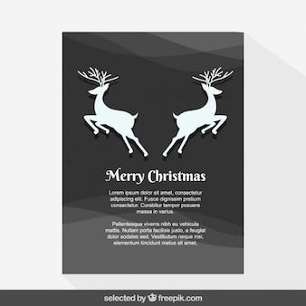 Veados simétricos no cartão de natal cinzento