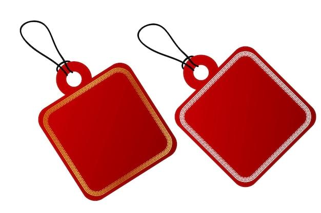 Vector 2 square vector red gradient tag borda branca e dourada em estilo china com corda preta