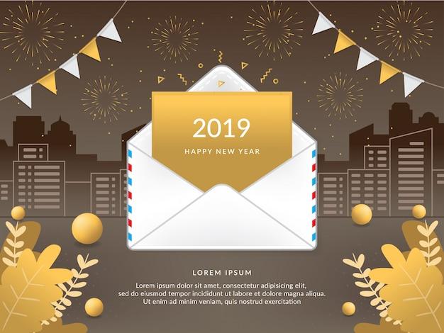 Vector 2019 feliz ano novo com envelope de correio