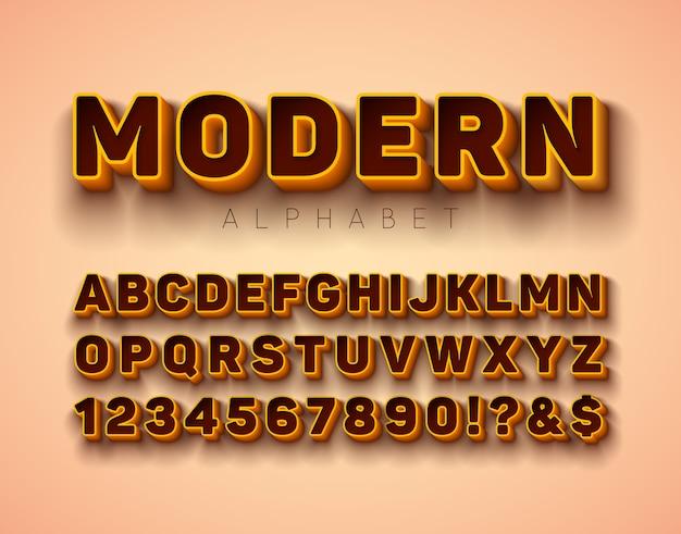 Vector 3d fonte do alfabeto com moldura e sombra