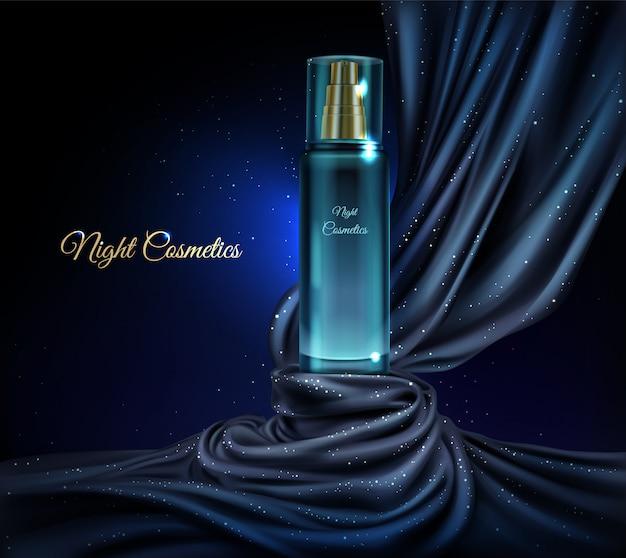 Vector 3d fundo cosmético realista com frasco de vidro de cosméticos à noite