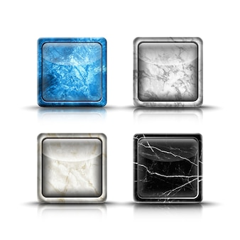 Vector 3d realista conjunto de botões do aplicativo.