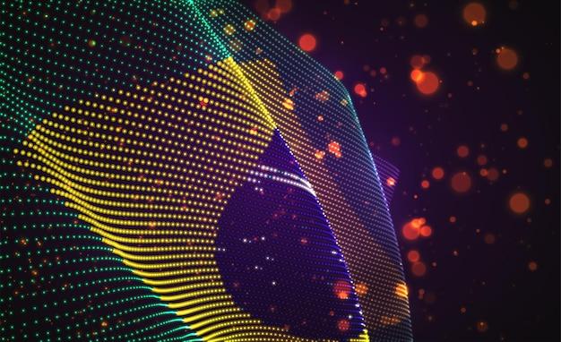 Vector a bandeira do país brilhante brilhante de pontos abstratos. brasil