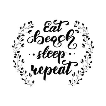 Vector a ilustração com rotulação coma a repetição do sono da praia.