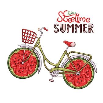 Vector a ilustração da bicicleta com melancia em vez das rodas.