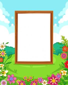 Vector a ilustração de um belo parque com flores e sinal em branco de madeira