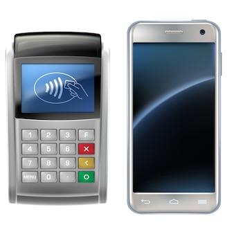 Vector a ilustração de um estilo realista, o conceito de pagamentos móveis usando a aplicação em seu smartphone.