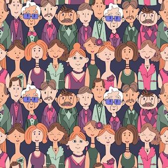 Vector a ilustração de um padrão sem emenda de retratos de pessoas em roupas.