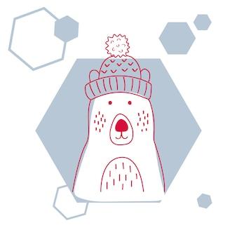 Vector a ilustração de um urso polar bonito no chapéu.