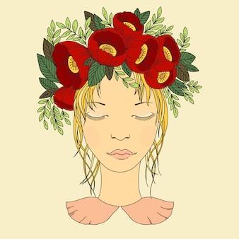 Vector a ilustração de uma menina em uma grinalda de flores vermelhas.