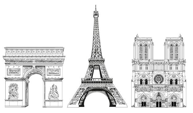 Vector a ilustração do desenho da mão da torre eiffel, do arco do triunfo e da catedral de notre dame.