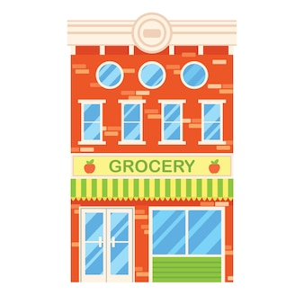 Vector a ilustração do edifício retro com loja de mantimento. fachada de uma casa retrô em estilo simples. construção de três armazéns com mercearia.