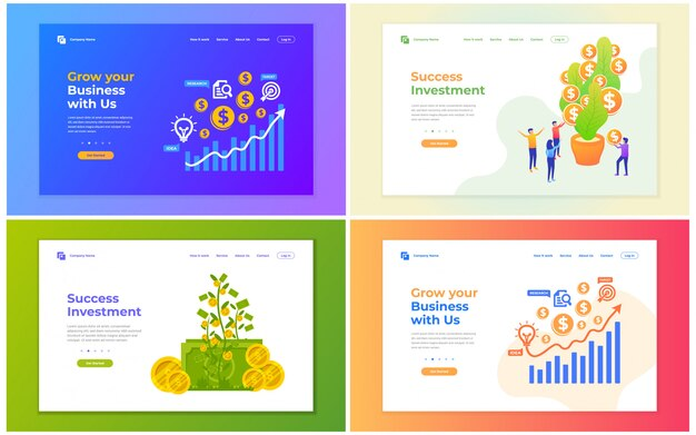 Vector a ilustração do investimento, financeiro, e crescimento do negócio. conceitos modernos da ilustração do vetor para o desenvolvimento do web site e do web site móvel.