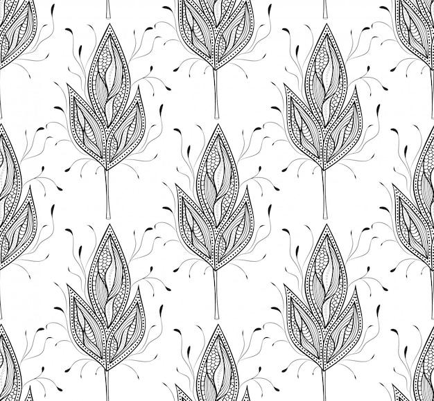 Vector a ilustração do padrão sem emenda com folhas abstratas