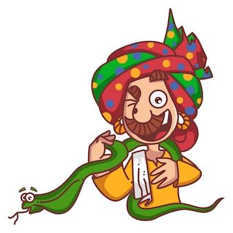 Vector a ilustração dos desenhos animados da serpente da terra arrendada do encantador de serpente.