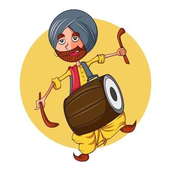 Vector a ilustração dos desenhos animados do homem do punjabi com dhol.