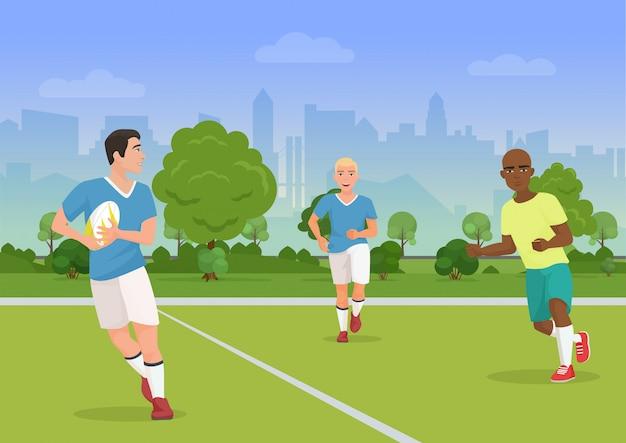 Vector a ilustração dos povos preto e branco alegres que jogam o rugby no campo de jogos.
