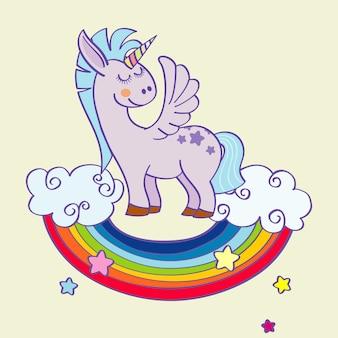 Vector alado unicórnio em pé sobre um arco-íris