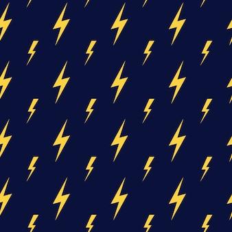 Vector amarelo relâmpago escuro azul sem costura padrão