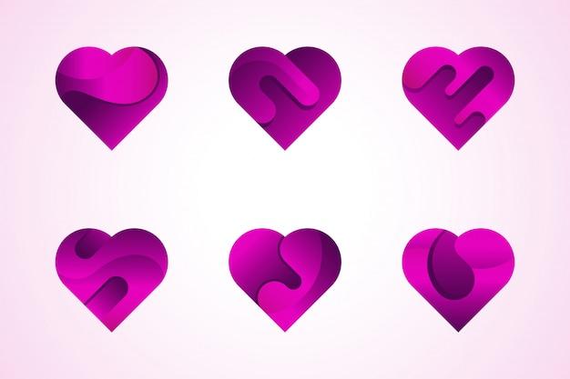 Vector amor corações ícones logotipo definido.