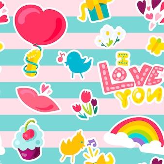 Vector amor romântico sem costura padrão