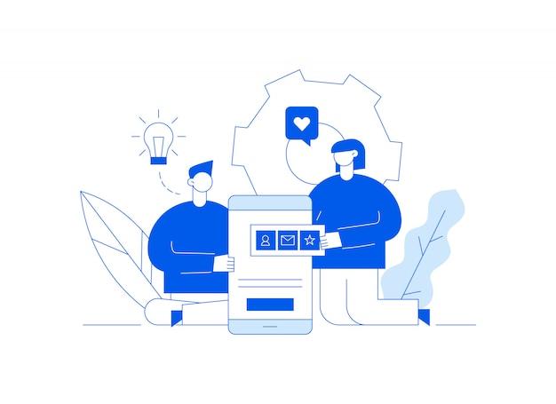 Vector aplicativo móvel ou ilustração de processo de desenvolvimento de site