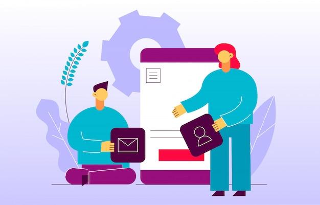 Vector aplicativo móvel ou processo de desenvolvimento de sites