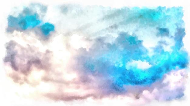 Vector aquarela céu com nuvens. pintura fundo abstrato