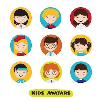 Vector avatares de usuário de crianças