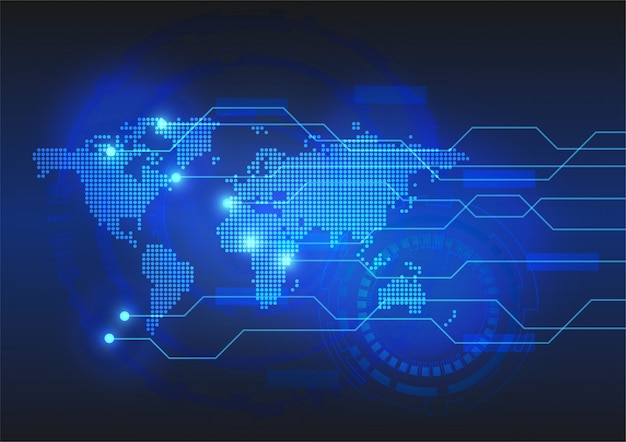 Vector background de circuito digital de tecnologia com mapa-múndi pontilhada