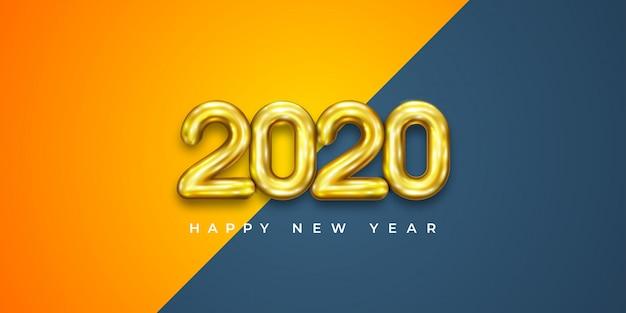 Vector balões 2020 realistas em estilo 3d na cor ouro, laranja.