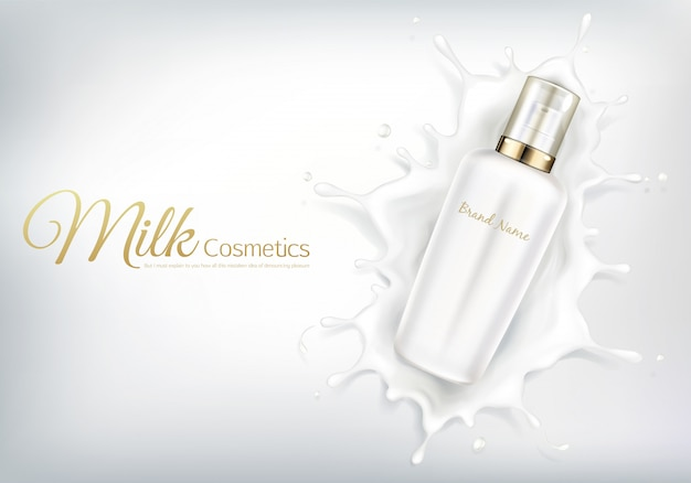 Vector bandeira cosmética com frasco realístico para a loção do creme ou do corpo do cuidado de pele.