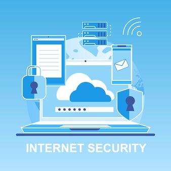 Vector bandeira plana internet segurança pessoal.