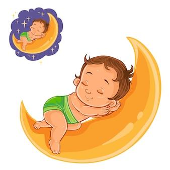 Vector bebê pequeno em uma fralda dormindo usando uma lua em vez de um travesseiro.