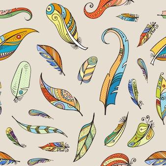 Vector boho doodle penas sem costura padrão ilustração