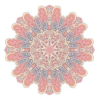 Vector boho mandala nas cores verde e rosa mandala com padrões florais