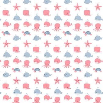 Vector bonito de design de desenhos animados de padrão de animais de aquário para menina e menino