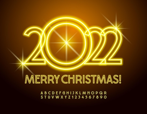 Vector brilhante cartão de felicitações feliz natal 2022 fonte elétrica elegante alfabeto neon amarelo