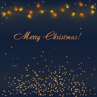 Vector brilhantes luzes de natal com iluminação colorida guirlanda e decorações douradas