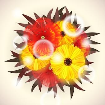 Vector buquê brilhante de flores vermelhas e amarelas