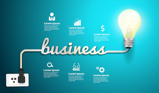 Vector business inspiration concept idéia de lâmpada criativo